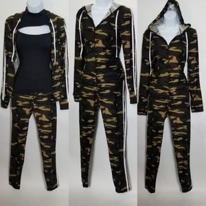Casual Camouflage Two-Piece Pants Set